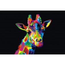 Картина-раскраска по номерам «Радужный жираф» 30*40 см