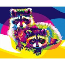 Картина-раскраска по номерам «Радужные еноты» 30*40 см