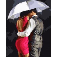 Картина-раскраска по номерам «Роман под зонтом» 30*40 см