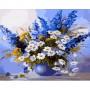 Картина-раскраска по номерам «Ромашки и дельфиниум» 40*50 см