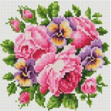 Алмазная мозаика «Розы и анютины глазки» 20*20 см