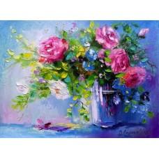 Картина-раскраска по номерам «Розы в стаканчике» 40*50 см