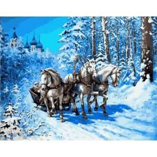 Картина-раскраска по номерам «Русская зима» 40*50 см