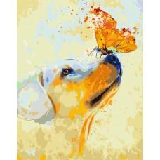 Картина-раскраска по номерам «Щенок и бабочка» 40*50 см