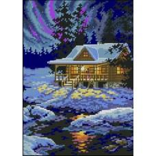 Алмазная мозаика «Северное сияние в лесу» 30*40 см