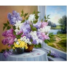Картина-раскраска по номерам «Сирень у окна» 40*50 см