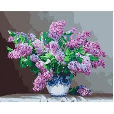 Картина-раскраска по номерам «Сирень в вазе» 40*50 см