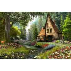 Картина-раскраска по номерам «Сказочный домик в лесу» 40*50 см