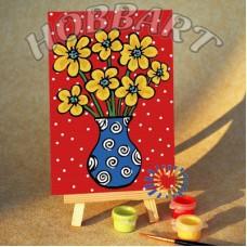 Картина-раскраска по номерам «Солнечный букетик» 10*15 см