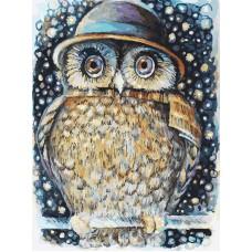 Картина-раскраска по номерам «Сова в шляпе» 30*40 см