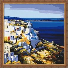 Картина-раскраска по номерам «Средиземноморский пейзаж» 40*40 см