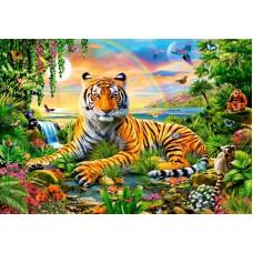 Картина-раскраска по номерам «Тигренок в райском саду» 40*50 см