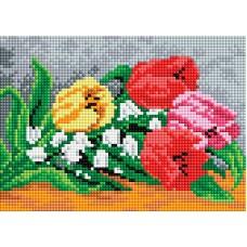 Алмазная мозаика «Тюльпаны и ландыши» 15*21 см