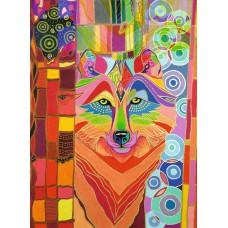 Картина-раскраска по номерам «Цветной волк» 40*50 см