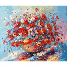 Картина-раскраска по номерам «Цветочная палитра лета» 40*50 см