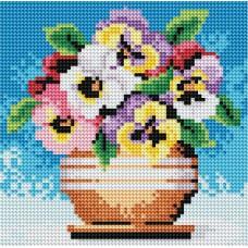 Алмазная мозаика «Цветы в горшочке» 20*20 см