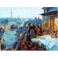 Картина-раскраска по номерам «Ужин на крыше» 40*50 см