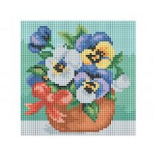 Алмазная мозаика «Веселые цветочки» 15*15 см
