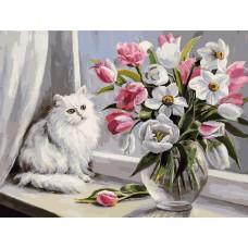 Картина-раскраска по номерам «Весна на окошке» 30*40 см