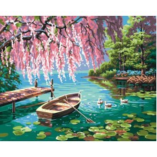 Картина-раскраска по номерам «Вишня на берегу пруда» 40*50 см