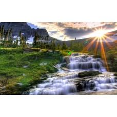 Картина-раскраска по номерам «Водопад в горах» 40*50 см