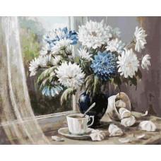 Картина-раскраска по номерам «Хризантемы-цветы запоздалые» 40*50 см