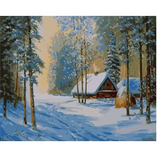 Картина-раскраска по номерам «Зимний пейзаж» 40*50 см