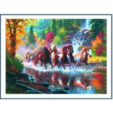 Картина-раскраска по номерам «Золотые лошади» 50*65 см