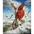 Ангел-бабочка на велосипеде