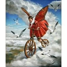Картина-раскраска по номерам «Ангел в волшебном саду» 40*50 см