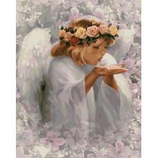 Картина-раскраска по номерам «Ангел в цветах» 40*50 см
