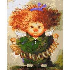 Картина-раскраска по номерам «Ангелочек с баранками» 40*50 см