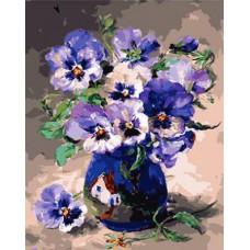 Картина-раскраска по номерам «Анютины глазки в керамической вазе» 40*50 см