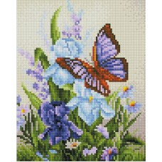 Алмазная мозаика «Бабочка на ирисах» 20*25 см