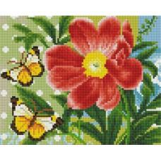 Алмазная мозаика «Бабочки и цветок» 20*25 см