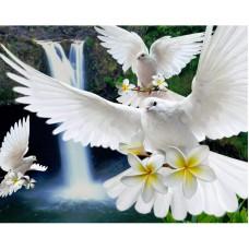Алмазная мозаика «Белые голубки» 40*50 см