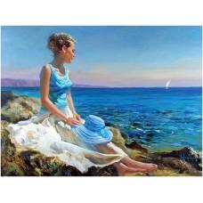 Картина-раскраска по номерам «Бирюзовая волна» 40*50 см