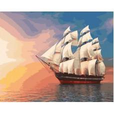 Картина-раскраска по номерам «Бригантина на закате» 40*50 см