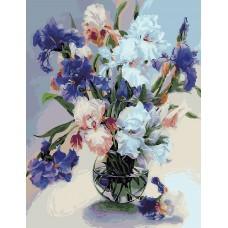 Картина-раскраска по номерам «Букет ирисов в вазе» 40*50 см