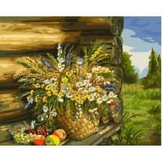 Картина-раскраска по номерам «Букет полевых цветов на завалинке» 40*50 см