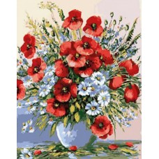 Картина-раскраска по номерам «Дачный букет цветов» 40*50 см