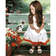 Картина-раскраска по номерам «Девочка и котенок» 40*50 см