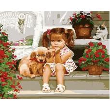 Картина-раскраска по номерам «Девочка и щенок» 40*50 см