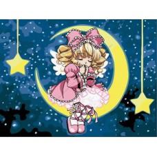 Картина-раскраска по номерам «Девочка на луне» 30*40 см