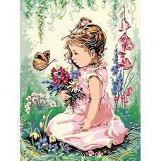 Картина-раскраска по номерам «Девочка на весенней опушке» 30*40 см