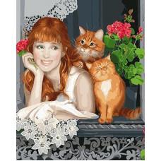 Картина-раскраска по номерам «Девушка с котами» 40*50 см