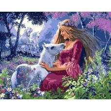 Картина-раскраска по номерам «Девушка с жеребенком» 40*50 см
