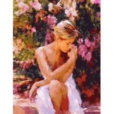 Картина-раскраска по номерам «Девушка в саду» 40*50 см