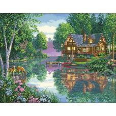 Алмазная мозаика «Дом на берегу» 40*50 см