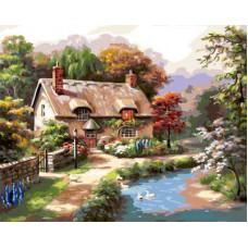 Картина-раскраска по номерам «Домик» 40*50 см